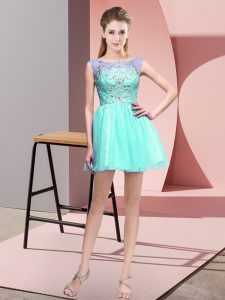 Aqua Blue Zipper Bateau Beading Club Wear Sleeveless