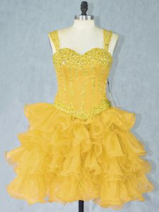 Artistic Gold Ball Gowns Straps Sleeveless Organza Mini Length Lace Up Beading and Ruffled Layers Club Wear