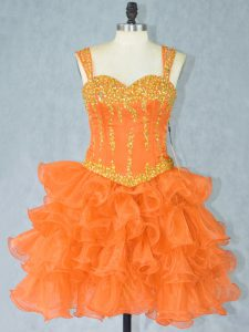 Orange Sleeveless Mini Length Beading and Ruffled Layers Lace Up Cocktail Dresses
