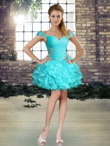 Mini Length Aqua Blue Cocktail Dresses Organza Sleeveless Beading and Ruffles