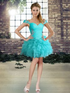 Free and Easy Ball Gowns Cocktail Dresses Aqua Blue Off The Shoulder Organza Sleeveless Mini Length Lace Up