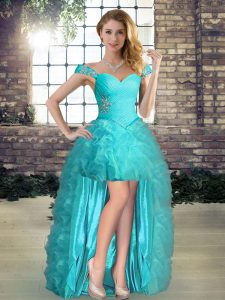 High Low Lace Up Cocktail Dresses Aqua Blue for Prom and Party with Beading and Ruffles