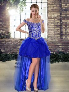 Exquisite Off The Shoulder Sleeveless Cocktail Dresses High Low Beading and Ruffles Royal Blue Tulle