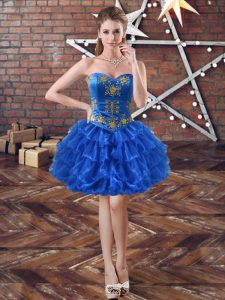 Graceful Royal Blue Organza Lace Up Cocktail Dresses Sleeveless Mini Length Embroidery and Ruffled Layers