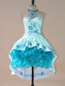 Ball Gowns Cocktail Dresses Aqua Blue High-neck Satin and Organza Sleeveless High Low Lace Up