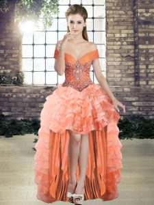 Orange A-line Beading and Ruffled Layers Cocktail Dresses Lace Up Organza Sleeveless High Low