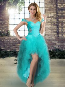 Best Selling High Low A-line Sleeveless Aqua Blue Club Wear Lace Up