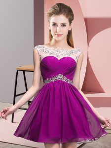 Pretty Chiffon Sleeveless Mini Length Club Wear and Beading and Ruching