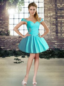 New Style Mini Length Lace Up Club Wear Aqua Blue for Prom and Party with Beading