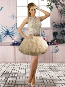 Ideal Champagne Sleeveless Mini Length Beading and Ruffles Clasp Handle Club Wear