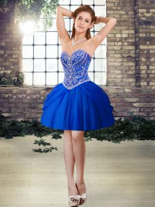 Sexy Royal Blue Sleeveless Mini Length Beading Lace Up Cocktail Dresses