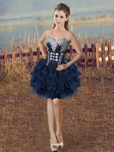 Navy Blue Ball Gowns Organza Sweetheart Sleeveless Beading and Ruffled Layers Mini Length Lace Up Club Wear