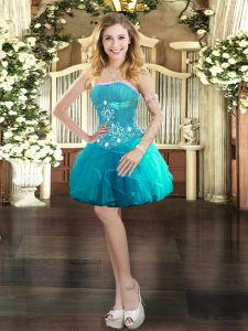 Aqua Blue Ball Gowns Strapless Sleeveless Tulle Mini Length Lace Up Beading and Ruffles Cocktail Dresses