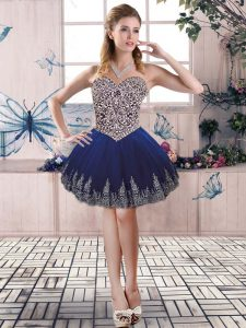 Most Popular Mini Length Ball Gowns Sleeveless Royal Blue Cocktail Dresses Lace Up