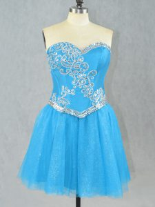 Aqua Blue Club Wear Prom and Party with Beading Sweetheart Sleeveless Lace Up