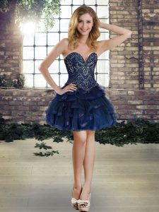 Modern Navy Blue Ball Gowns Beading and Ruffles Cocktail Dress Lace Up Tulle Sleeveless Mini Length