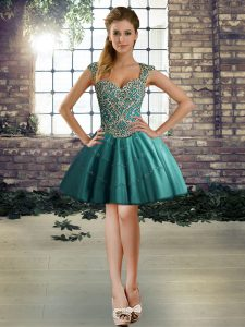 Superior Teal Ball Gowns Beading Cocktail Dresses Lace Up Tulle Sleeveless Mini Length