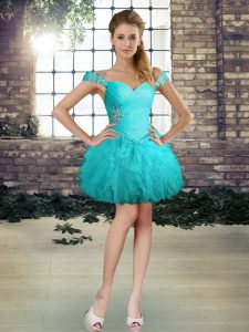 Aqua Blue Ball Gowns Beading and Ruffles Cocktail Dresses Lace Up Tulle Sleeveless Mini Length
