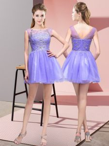 Exquisite Lavender Tulle Zipper Bateau Sleeveless Mini Length Club Wear Beading