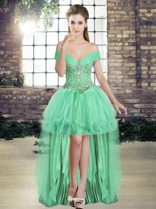 Shining Tulle Off The Shoulder Sleeveless Lace Up Beading and Ruffles Cocktail Dresses in Apple Green