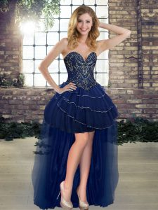 Dazzling Navy Blue Lace Up Club Wear Beading and Ruffled Layers Sleeveless High Low
