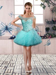 Off The Shoulder Sleeveless Tulle Cocktail Dresses Beading and Ruffles Lace Up