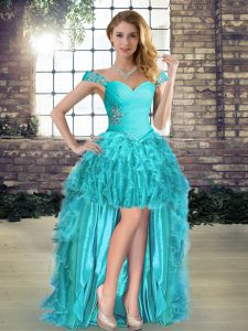 Off The Shoulder Sleeveless Lace Up Cocktail Dresses Aqua Blue Organza