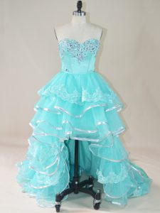 High Low Aqua Blue Club Wear Sweetheart Sleeveless Lace Up
