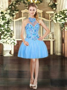 Perfect Aqua Blue Ball Gowns Halter Top Sleeveless Tulle Mini Length Lace Up Embroidery Cocktail Dresses