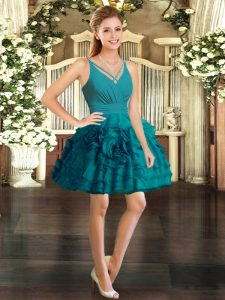 Glorious Teal V-neck Neckline Ruffles Club Wear Sleeveless Backless