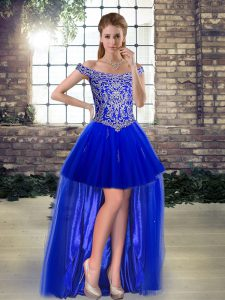 A-line Cocktail Dresses Royal Blue Off The Shoulder Tulle Sleeveless High Low Lace Up