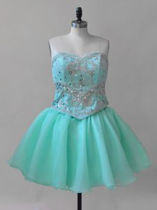 Aqua Blue Cocktail Dresses Prom and Party with Beading and Lace Sweetheart Sleeveless Lace Up