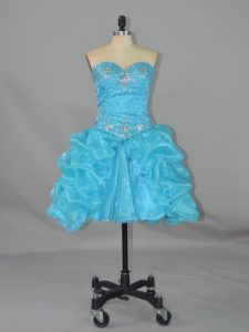 Lovely Aqua Blue Sleeveless Beading and Pick Ups Mini Length Club Wear