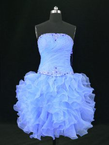 Dramatic Strapless Sleeveless Organza Club Wear Beading and Ruffles Lace Up