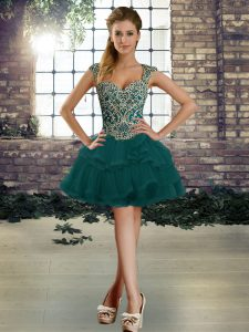 Great Dark Green Lace Up Club Wear Beading and Ruffles Sleeveless Mini Length