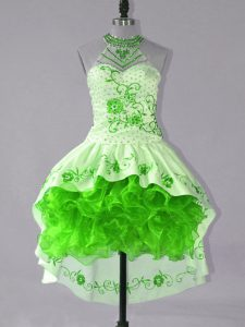 Fashion Green Satin and Organza Lace Up Cocktail Dresses Sleeveless High Low Embroidery and Ruffles