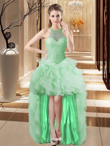 Pretty Sleeveless High Low Beading and Ruffles Lace Up Cocktail Dresses with Apple Green