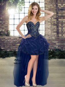 Most Popular Navy Blue A-line Beading and Ruffles Cocktail Dress Lace Up Tulle Sleeveless High Low