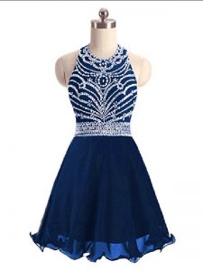 Sleeveless Mini Length Beading Lace Up Cocktail Dress with Navy Blue
