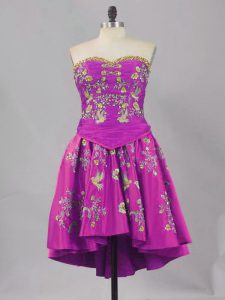 Purple A-line Sweetheart Sleeveless Mini Length Lace Up Embroidery Club Wear