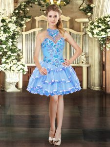 Light Blue Sleeveless Organza Lace Up Club Wear for Prom and Party