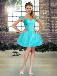 Affordable Sleeveless Mini Length Beading and Appliques Lace Up Cocktail Dress with Aqua Blue