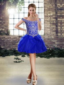 Mini Length Ball Gowns Sleeveless Royal Blue Cocktail Dresses Lace Up