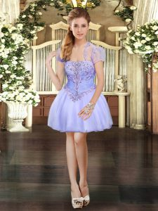 Lavender Strapless Lace Up Beading and Lace Cocktail Dresses Sleeveless