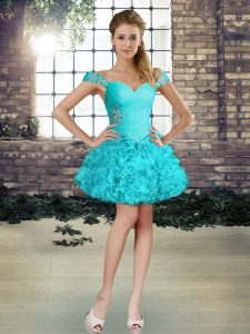 Lovely Aqua Blue Lace Up Cocktail Dresses Beading and Ruffles Sleeveless Mini Length