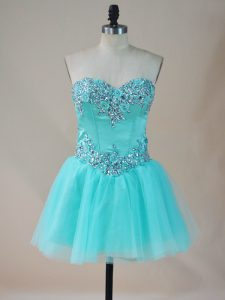 Dazzling Aqua Blue Tulle Lace Up Club Wear Sleeveless Mini Length Beading