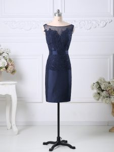 Navy Blue Sleeveless Knee Length Beading and Lace Zipper Cocktail Dress