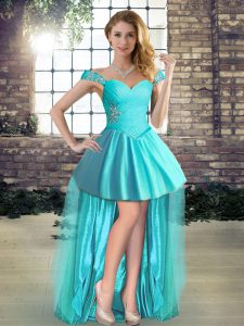 Perfect Aqua Blue Tulle Lace Up Off The Shoulder Sleeveless High Low Cocktail Dresses Beading