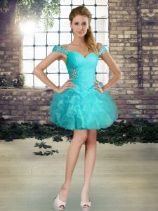 Sophisticated Aqua Blue Sleeveless Organza Lace Up Club Wear for Prom and Party