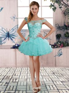 Dazzling Off The Shoulder Sleeveless Lace Up Cocktail Dress Aqua Blue Tulle